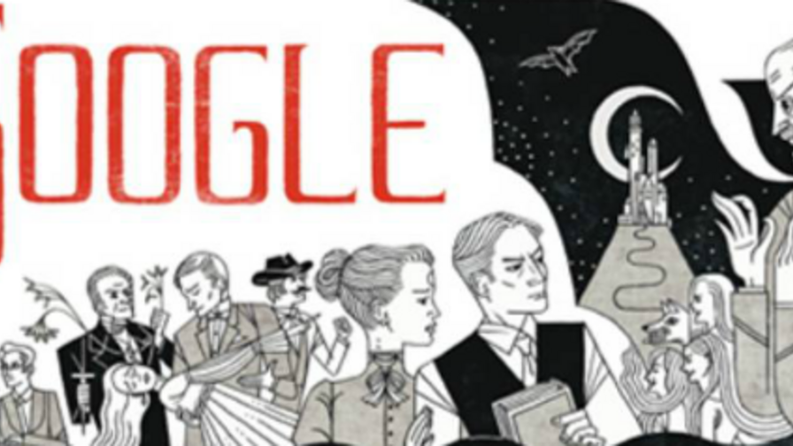 "Google Doodle zu Bram Stokers ""Dracula"". Ganz links Zoophage Renfield."